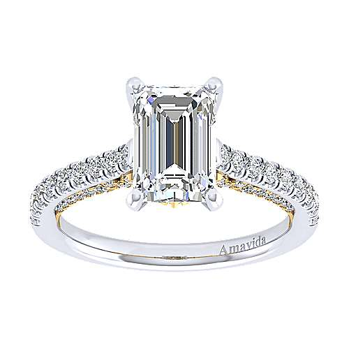 18k Yellow/white Gold Diamond Straight Engagement Ring angle 5