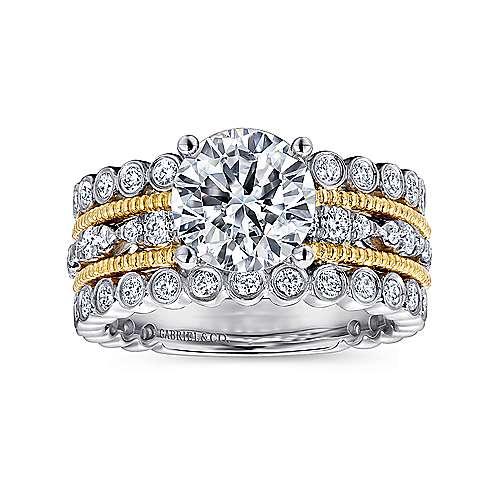 18k Yellow/white Gold Diamond Straight Engagement Ring angle 5
