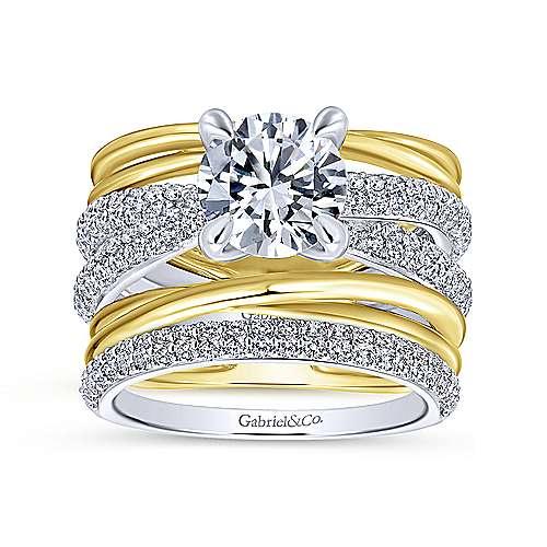 18k Yellow/white Gold Diamond Straight Engagement Ring angle 4