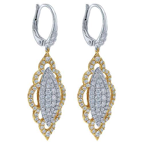 18k Yellow/white Gold Mediterranean Drop Earrings angle 2