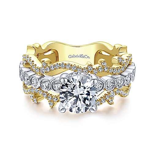 Gabriel - 18k Yellow/white Gold Round Free Form Engagement Ring