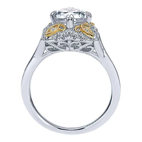 18k Yellow/white Gold Round Halo Engagement Ring angle 2