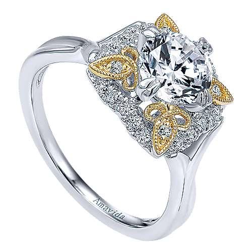 18k Yellow/white Gold Round Halo Engagement Ring angle 3