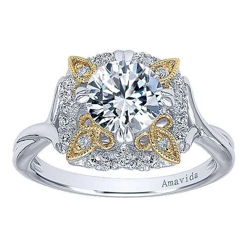 18k Yellow/white Gold Round Halo Engagement Ring angle 5