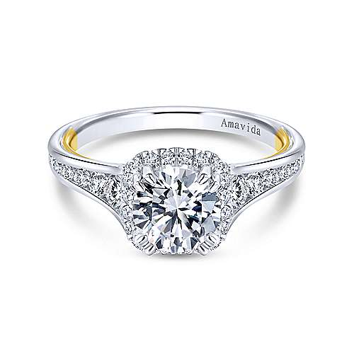 Gabriel - 18k Yellow/white Gold Round Halo Engagement Ring