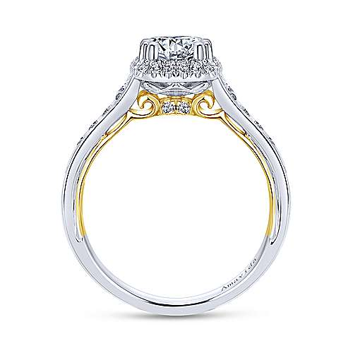 18k Yellow/white Gold Round Halo Engagement Ring angle 2