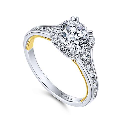 18k Yellow/white Gold Round Halo Engagement Ring angle 3