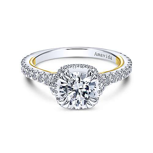 18k Yellow/white Gold Round Halo