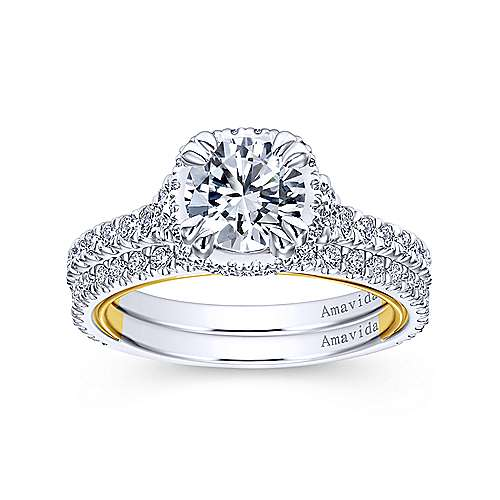 18k Yellow/white Gold Round Halo Engagement Ring angle 4
