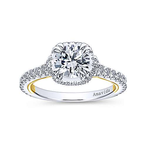 18k Yellow/white Gold Round Halo Engagement Ring angle 5