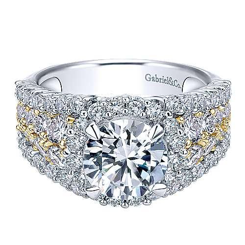 Gabriel - 18k Yellow/white Gold Round Halo Engagement Ring