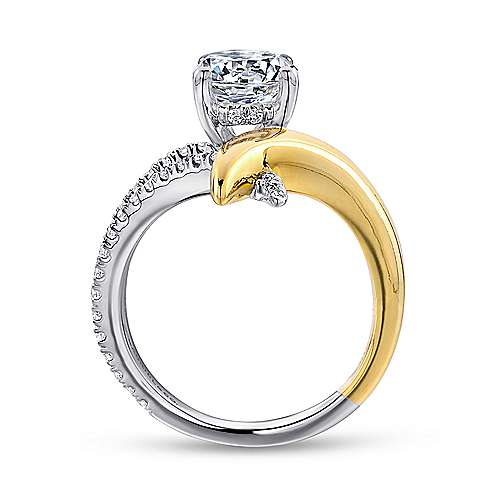 18k Yellow/white Gold Round Split Shank Engagement Ring angle 2