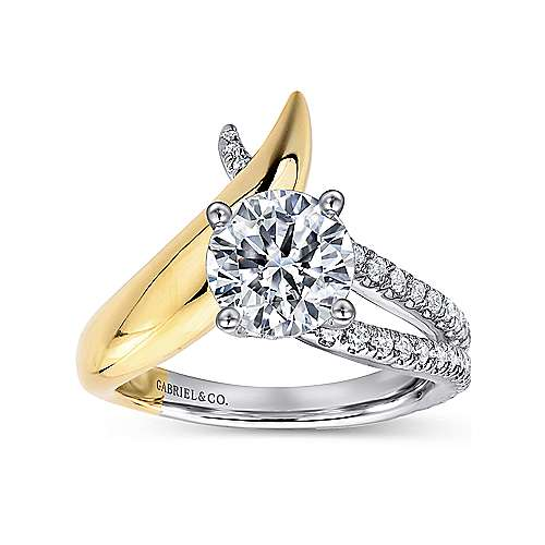 18k Yellow/white Gold Round Split Shank Engagement Ring angle 5