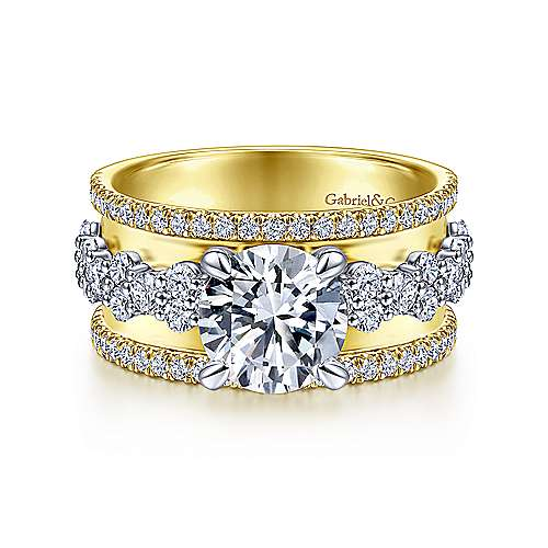 Gabriel - 18k Yellow/white Gold Round Straight Engagement Ring