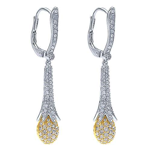 18k Yellow/white Gold Silk Drop Earrings angle 2