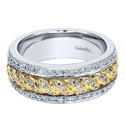 Gabriel - 18k Yellow/white Gold Victorian Straight Wedding Band