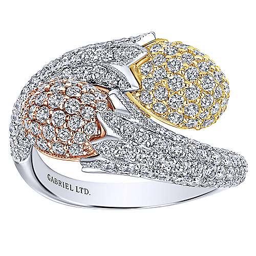 18k Yellow/white/pink Gold Diamond Fashion Ladies