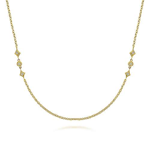 Gabriel - 20inch 14K Yellow Gold Diamond Station Necklace