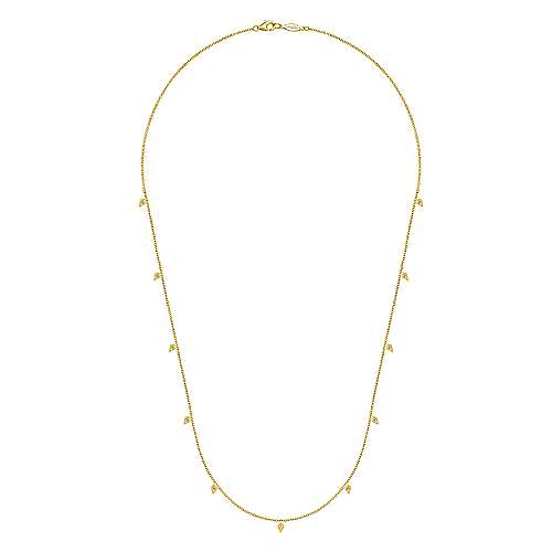 20inch 14K Yellow Gold Diamond Station Necklace angle 2