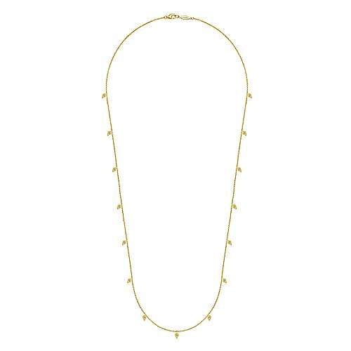 24inch 14K Yellow Gold Diamond Station Necklace angle 2