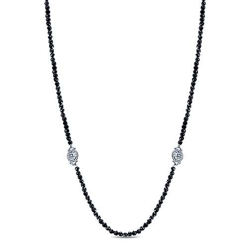 24inch 925 Silver Black Spinal Station Necklace