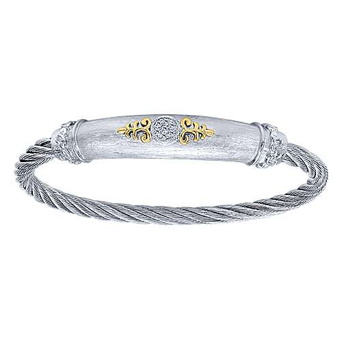 Gabriel - 3 Or More Metals Mixed Steel My Heart Twisted Cable Bangle