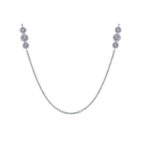 32inch 14K White Gold Diamond Station Necklace