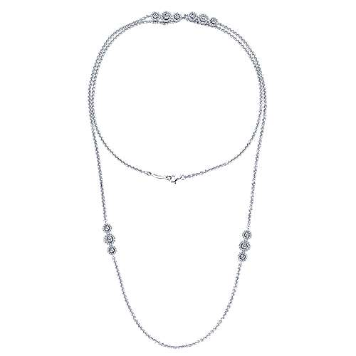 32inch 14K White Gold Diamond Station Necklace angle 2