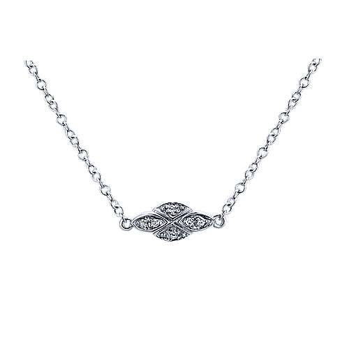 32inch 14K White Gold Diamond Station Necklace