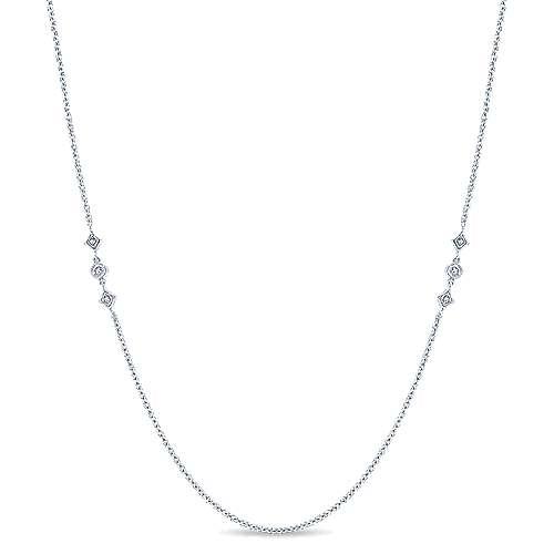Gabriel - 32inch 14K White Gold Diamond Station Necklace