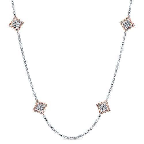 Gabriel - 32inch 18K White/Rose Gold Diamond Station Necklace