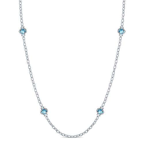 32inch 925 Silver Blue Topaz Station Necklace