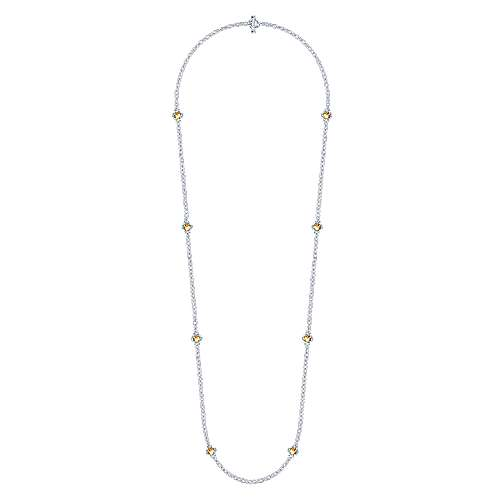 32inch 925 Silver Citrine Station Necklace angle 2