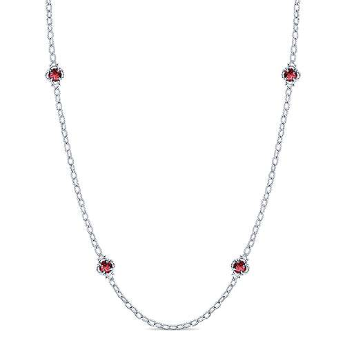 32inch 925 Silver Garnet Station Necklace angle 1