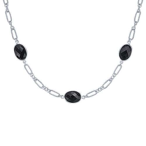 32inch 925 Silver Onyx Station Necklace angle 1