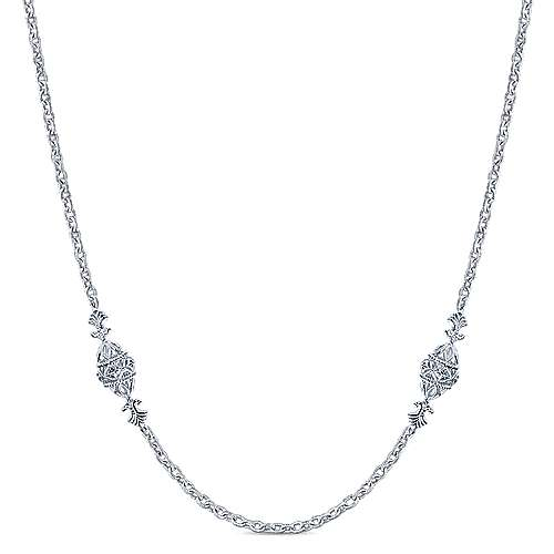 32inch 925 Sterling Silver Station Necklace