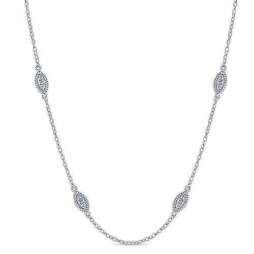 36inch 14K White Gold Diamond Station Necklace angle 1