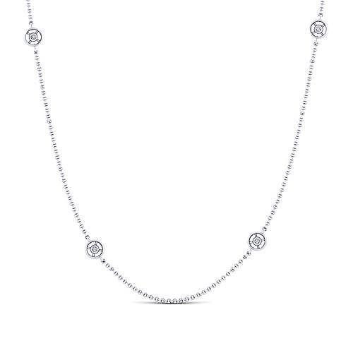 Gabriel - 36inch 14K White Gold Diamond Station Necklace