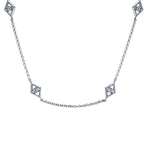 Gabriel - 36inch 14K White Gold Diamond Station Necklace