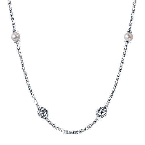 36inch 925 Silver Cultered Pearl Station Necklace angle 1