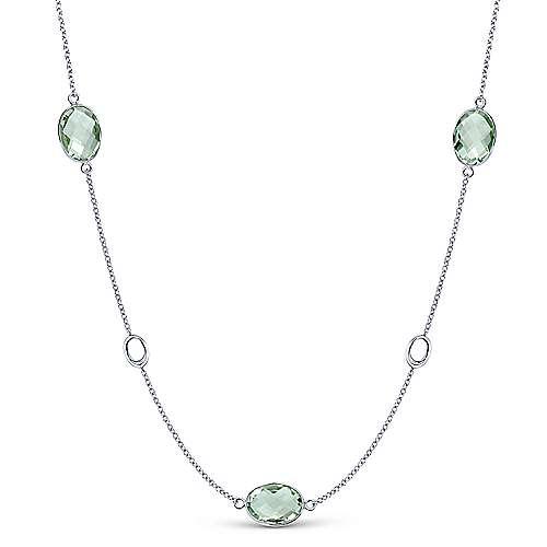 36inch 925 Silver Garnet Station Necklace