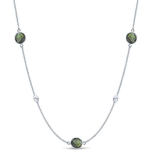 36inch 925 Silver Labradorite Station Necklace