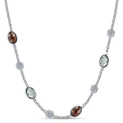 Gabriel - 36inch 925 Silver Multi Color Station Necklace