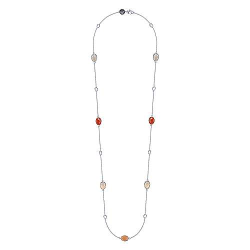 36inch 925 Silver Multi Color Station Necklace angle 2