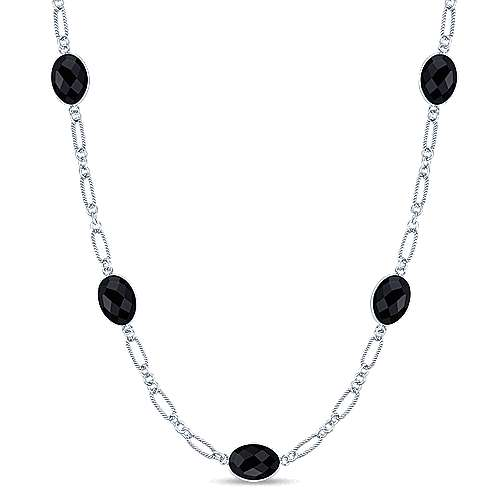 36inch 925 Silver Onyx Station Necklace angle 1