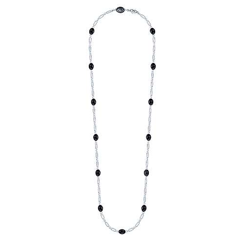 36inch 925 Silver Onyx Station Necklace angle 2