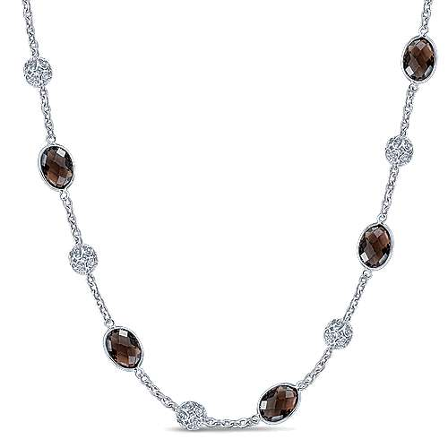 36inch 925 Silver Smokey Quartz Station Necklace angle 1