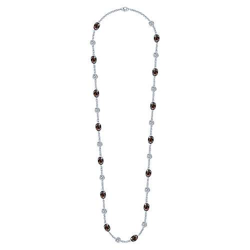 36inch 925 Silver Smokey Quartz Station Necklace angle 2