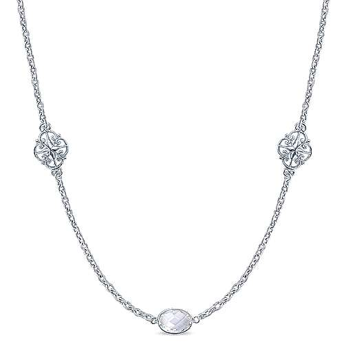 36inch 925 Sterling Silver Rock Crystal Station Necklace