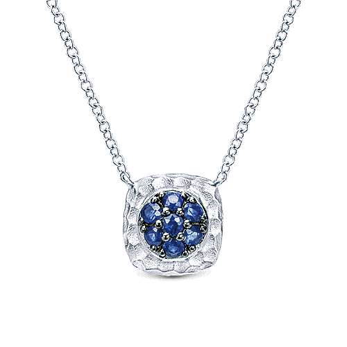 925 Hammered Silver And Pavé Sapphire Fashion